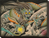 Oni Dragon Stretched Canvas Print by Samuel Gosson