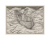 Illustration of lady in a boat Giclee Print by Edward Burne-Jones