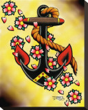 Anchor & Flowers Stretched Canvas Print by Tyler Bredeweg