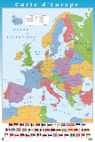 Europe Map - French Edition Plakater