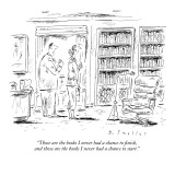 """Those are the books I never had a chance to finish, and those  are the bo…"" - New Yorker Cartoon Premium Giclee Print by Barbara Smaller"