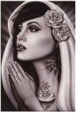 Tattooed Mary Print by  Spider (Artist)