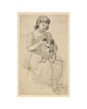 Girl with a dog Giclee Print by Paul Sandby