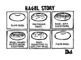 Bagel Story. (an allegory about life) 1. Plain bagel 2.multigrain bagel 3.… - New Yorker Cartoon Premium Giclee Print by Drew Dernavich