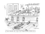 The home of the bottomless martini. - New Yorker Cartoon Premium Giclee Print by Mick Stevens