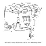 """Make that a double, and give one to the  old bitch at the end of the bar."" - New Yorker Cartoon Premium Giclee Print by George Booth"