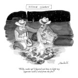 """Rookie Cowboy""-""Willy, wake up! I figured out how to light my cigarette w…"" - New Yorker Cartoon Premium Giclee Print by Marshall Hopkins"