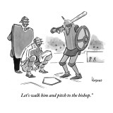 """Let's walk him and pitch to the bishop."" - New Yorker Cartoon Premium Giclee Print by John Klossner"