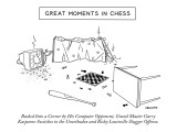 """Great Moments in Chess""-Backed into a Corner by His Computer Opponent, Gr… - New Yorker Cartoon Premium Giclee Print by Alex Gregory"