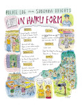 Police Log from Suburbia Heights-In Haiku Form - New Yorker Cartoon Premium Giclee Print by Roz Chast