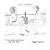"1990 Something-""I love what you've done with your hair.""-""Great briefcase.…"" - New Yorker Cartoon Premium Giclee Print by Richard Cline"