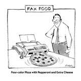 Fax Food-'Four-color Pizza with Pepperoni and Extra Cheese' - New Yorker Cartoon Premium Giclee Print by Lee Lorenz