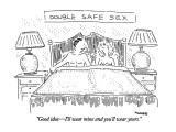 "DOUBLE SAFE SEX -""Good idea—I'll wear mine and you'll wear yours."" - New Yorker Cartoon Premium Giclee Print by Robert Mankoff"
