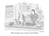 """What time did you say you wanted me to start drinking?"" - New Yorker Cartoon Premium Giclee Print by Kim Warp"