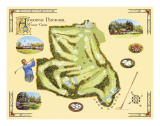 Golf Course Map, Augusta Posters by Bernard Willington