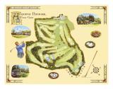 Golf Course Map, Augusta Poster by Bernard Willington