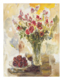Red Roses in Crystal Vase Posters by  Yona