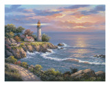 Sunset at Lighthouse Point Poster by Sung Kim