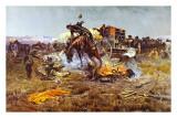 Ärger im Camp Cook Kunstdrucke von Charles Marion Russell