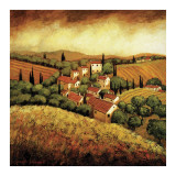 Tuscan Hillside Village Posters by Santo De Vita