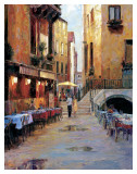 Street Cafe After Rain Venice Poster por Haixia Liu