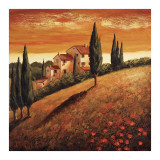 Sunset Over Tuscany I Poster by Santo De Vita