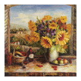 Sunflowers With Fruit And Wine II Pster