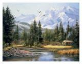 Hütte vor den Bergen Kunst von Bernard Willington