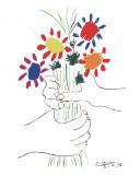 Blumenstrauß in der Hand Kunstdruck von Pablo Picasso