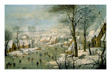 A Winter Landscape with Skaters and a Bird Trap Prints by Pieter Brueghel the Younger