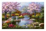 Jardin japonais en fleurs Poster par Sung Kim