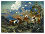 Emigrant Train at Donner Lake Posters by David Johnson