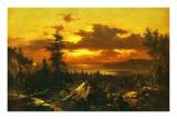 Sunset Glow Prints by Albert Bierstadt