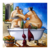 Couple Bathing Print by Ronald West