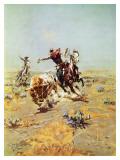 Cowboy che prende al lazo un manzo Poster di Charles Marion Russell