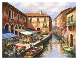 Flower Market on the Canal Poster by Sung Kim