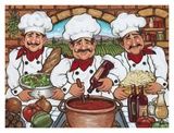 Three Happy Chefs Art by Janet Kruskamp