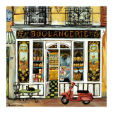 Boulangerie and Red Scooter Poster by Suzanne Etienne