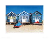 Blue Beach Huts Giclee Print by Margaret Heath