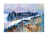 New York & Manhattan Island Giclee Print by Colin Ruffell