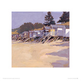 Beach Huts Against Fir Trees Reproduction procédé giclée par John Sprakes