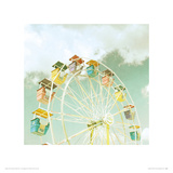 Fairground Wheel Giclee Print by Zee Longenecker