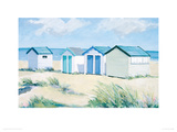 Beach  Huts On A Bright Day Giclee Print by Jane Hewlett