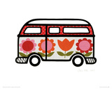 Flower Power Camper Giclee Print by Jane Foster
