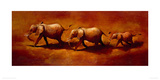 Three African Elephants Giclee Print by Jonathan Sanders