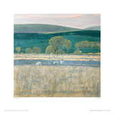 Landscape With Low Lying Sun, Northumberland Giclee Print by Lydia Bauman