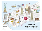 Map of New York Giclee Print by Alice Tait