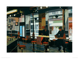 Diner With Two Figures Giclee Print by Alexandra Gardner