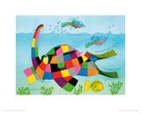 Elmer Snorkelling Giclee Print by David Mckee