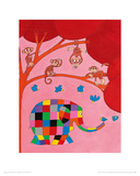 Elmer and the Monkeys Giclee Print by David Mckee